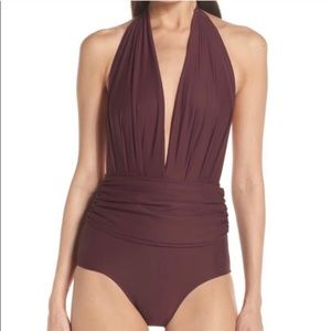 LENNY NIEMEYER swimsuit one piece red burgundy